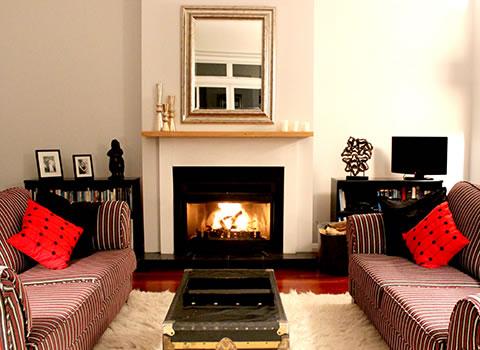 Gallin Farmstay fireplace